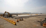 Airside pavement construction in progress at GVK CSIA