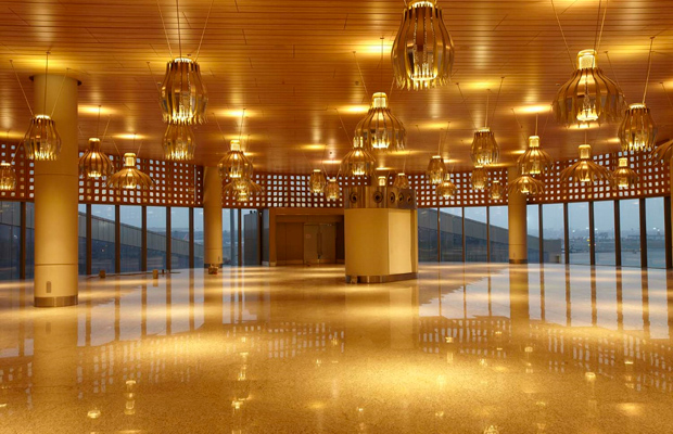 New terminal lobby lit with golden lights